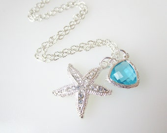 Bridesmaid Necklaces, Silver Rhinestone Starfish, Turquoise & Starfish Necklace, Beach Nautical Wedding Jewelry, Starfish Necklace,Bridal
