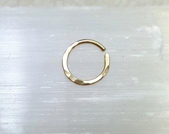 Solid 18k Gold Septum ring. Real gold cartilage hoop. Genuine gold nose ring. 18g hoop. solid gold septum hoop. 18k gold piercing
