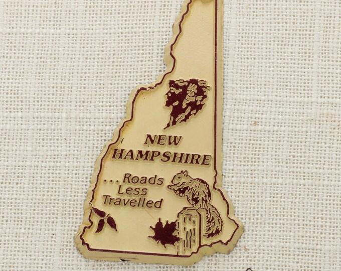 "Vintage New Hampshire State Magnet ""Roads Less Travelled"" Travel Tourism Summer Vacation Memento USA America 'Merica Fridge Refrigerator 5S"