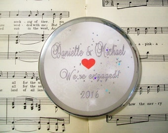 Silver and Red Wedding Engagement Magnet, Personalized Gift, Keepsake Refrigerator Magnet, Large 3.50 Inches, Gifts for Couples