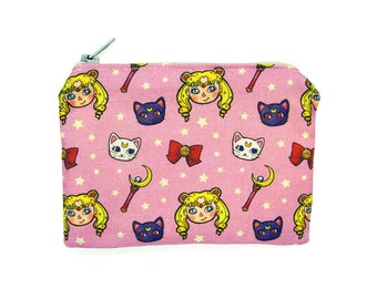 Sailor Moon Zippered Pouch - Pink Coin Purse / Illustrated Fabric / Anime Pattern / Magical Girl Print / Zipper Pouch
