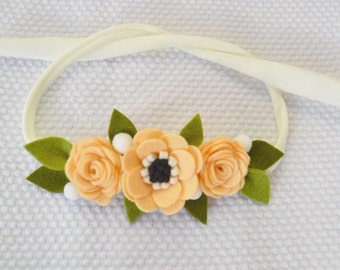 Anemone & Roses felt headband in apricot color/Felt Flower Headband/Wedding Bridesmaid wrist corsage/Felt accessories