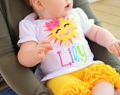 Sunshine Shirt or bodysuit for girls, Sun Shirt - Ray of Sunshine - beautiful sunshine shirt with rainbow colors