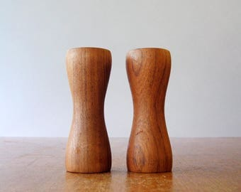 Mid Century Danish Modern Teak Salt / Pepper Shaker Set Hourglass