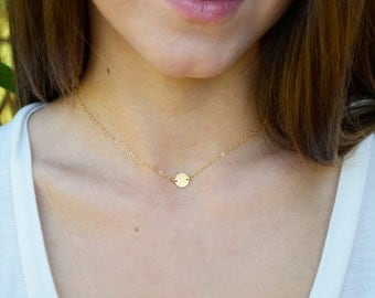 Gold Dot Necklace, Brushed Dot Necklace, Gold Disc Necklace, 14kt Gold Filled, Small Circle Necklace