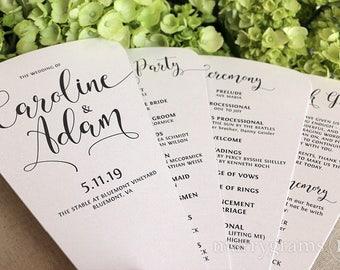 Wedding Program Fans 4 Blade Petal Programs Satin Ribbon Customizable Elegant Programs, Spring Summer Wedding Custom Colors SS14 50 - 100ct