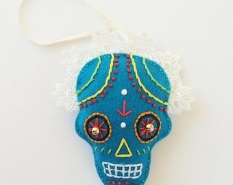 Embroidered Sugar Skull Ornament