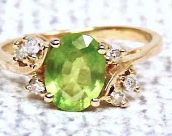 Sale! Peridot and Diamond 14K Ring, Vintage, 2.00 Carats, Yellow gold, August Birhstone
