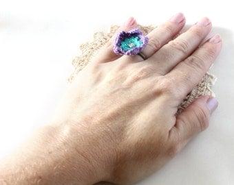 Crochet Ring - Ring - Flower Ring - Crochet Jewelry - Purple Ring - Vegan Jewelry - Ring