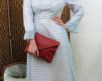 1960s Pale Blue Chiffon Maxi Dress Size UK 8/10, US 4/6, EU 36/38