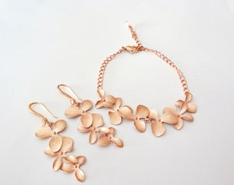 Rose gold orchid jewelry set~ Cascading orchid earrings and bracelet set~ Beach wedding jewelry set~ Wedding jewelry set,Brides jewelry set