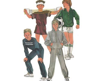 Boys Easy to Sew Unlined Jacket/Pullover Tops/Pants/Shorts Simplicity 7020 Vintage 1980s Sewing Pattern Size 8-10-12 Chest 27-28-30