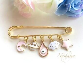 Good Luck Baby Pin Brooch, Evil Eye Baby Pin, Baby Safety Pin, Newborn Baby Gift, Newborn Girl Gift, Mom Gift, Stroller Pin, Baby Jewelry