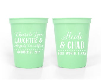 Custom Wedding Favor -Cheers to Love, Laughter & Happily Ever After - 16 oz. Stadium Cups
