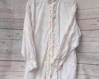 Vintage Victoria's Secret High Neck Flannel Nightgown Shirt White Floral Med-Lg Button Front Ruffled