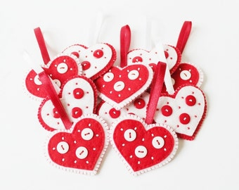 Red White Heart Decoration Felt Heart Ornament Heart Decoration Beaded Heart Buttons Ornament Felt decoration Heart gift
