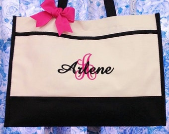 Set of 6 Personalized Bridesmaids Totes Wedding Gifts Large Initial with Name or Title