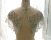 Great Gatsby Victorian Capelet Mint Green Pastel Lace Velvet Bow Wedding Cape Romantic Sheer Poncho Shawl Top Darling bolero shrug Gypsy