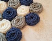 Crochet rose flower blanket pattern