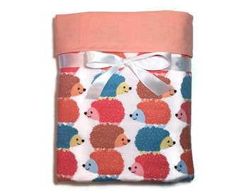 Flannel Baby Blanket - Receiving Blanket - Hedgehog Baby Blanket - Baby Boy Blanket - Baby Girl Blanket - Swaddle Blanket - Crib Blanket