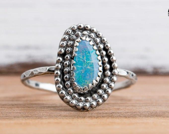 Boulder Opal Gemstone Ring in Sterling Silver - Size 8.25