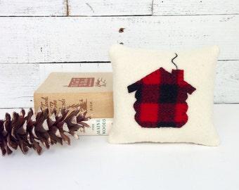 Cabin Pillow, Holiday Pillow, Balsam Pillow, Rustic Home Decor, Buffalo Plaid Pillow, Rustic Cabin Decor, Christmas Pillow, 6x6 Pillow