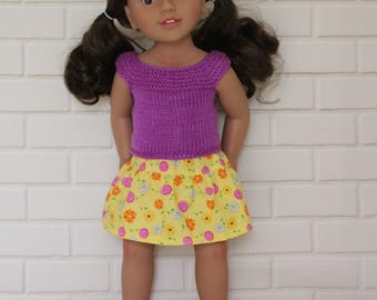 """Purple Knitted Top Yellow Flower Skirt - Dolls clothes to fit 20"""" Australian Girl dolls & 18"""" American Girl type dolls"""