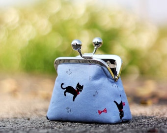 Metal frame coin purse, Cat coin purse, Japanese fabric