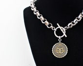 Iconic Designer Button Necklace Choker, Chunky Jewelry silver & gold Mixed Metal Necklace Chunky Chain, Button Jewelry veryDonna