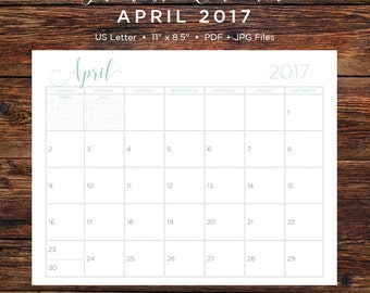 April 2017 Calendar | April 2017 | April | Calendar | Printable Calendar | Printable | Monthly Calendar | 2017 | Instant Download