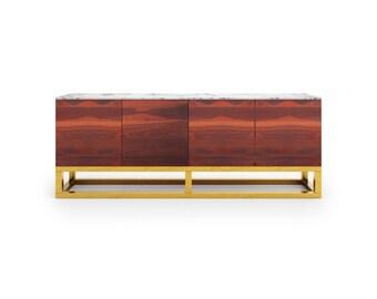 Credenza Akureyri. Walnut furniture. Marble furniture. Brass Furniture. Handmade furniture. Luxury furniture.