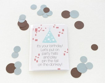 Birthday Card, Pin the Tail on the Donkey, Birthday Card For Boyfriend, Funny Birthday Card For Her, Birthday Card Best Friend, Wife - 137C