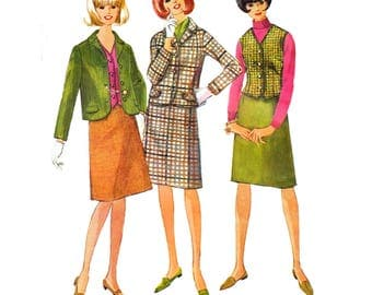 Simplicity 6124 Woman Suit, A-Line Skirt, Lined Notched Collar Jacket, Unlined Single Breasted Vest Sewing Pattern Size 14 Vintage 1965