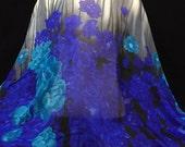 Silk Chiffon, Floral Chiffon, Floral Print, Blue Material, Chiffon Remnant, Multicolored Fabric, Flowy Fabric, Blue Material, F1-012