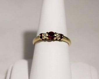 14K Yellow Gold Ruby and Diamond Barred Ring