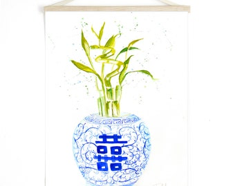 Blue and White Ginger Jar Art, Ginger Jar Print, Double Happiness Jar, Bamboo Art, Chinoiserie Print, Chinoiserie Art, China, Watercolor