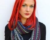 Scandinavian print scarf, blanket scarf, cowl scarf, shawl, blue infinity scarf, nordic print, christmas scarf, girlfriend gifts