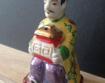 Asian man incense burner figurine Chinoiserie