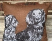 Vintage Dachshund Hankie Pillow with Quilt Backing
