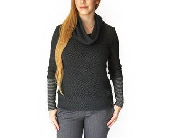Gray womens sweater, Knit sweater, turtleneck sweater, women knit sweater, Winter top, gift for her, women knitwear, Light sweater, Gray top