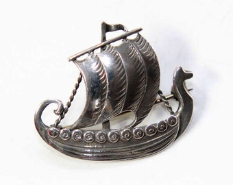 Sterling Silver Danish Viking Ship Brooch by Just Anderson Danmark (c1920s) FREE SHIPPING