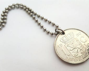 1980 Dutch Coin Necklace  - Stainless Steel Ball Chain or Key-chain - Netherlands