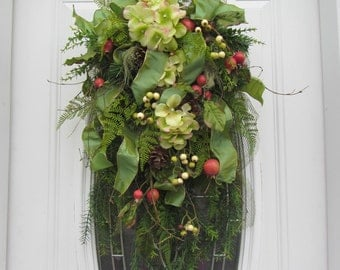 Christmas Swag - Christmas Door Decor - Hydrangea pine Swag - Holiday Swag - Pine Swag - Country Swag - Wreath -  Door Swag - Winter Swag