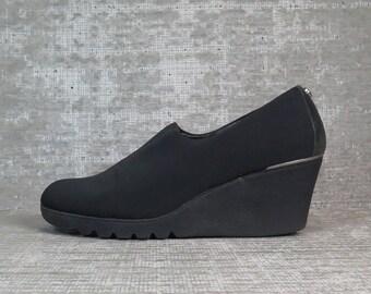 Vtg 90s Neoprene Elastic Platform Wedge Shoes 7