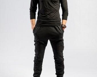 Minimalist black pants / Ninja pants / Black sweatpants / Mens pants / Avant garde mens fashion / Futuristic trouser