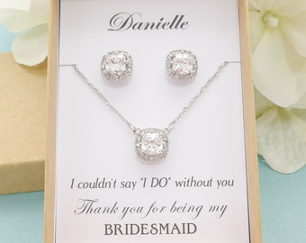 Personalized Bridesmaid Gift, Bridesmaid Jewelry Set, Bridesmaid Earrings and Necklace Bracelet Set, Princess Cut Earrings, Wedding Jewelry