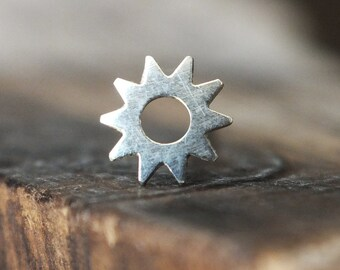 Silver Sun Helix Earring | Helix Piercing | Cartilage Earring | Tragus Piercing | Tragus Jewelry | Tragus Earring | Conch Earring