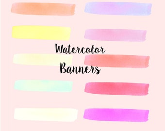 Watercolor Banners clip art, digital download