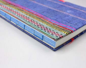 Handmade lined journal-notebook with Hmong hill-tribe fabric cover A5 size in blue and neon stripes (NB0004)