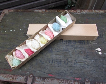 VINTAGE Box of 8 Small Pastel Colored Honeycomb Candles with Silver Glitter.  IOB. Nice Condition. Wax Candles.  Rare Set of Candles